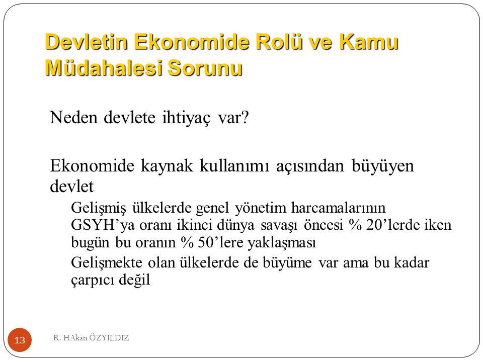 Devletin Ekonomide Rolü ve Kamu Müdahalesi Sorunu R. HAkan ÖZYILDIZ 13 Neden devlete ihtiyaç var? Ekonomide kaynak kullanımı açısından büyüyen devlet