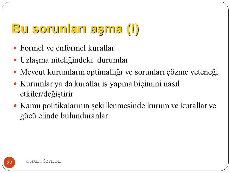 Bu sorunları aşma (!) R. HAkan ÖZYILDIZ 22 Formel ve enformel kurallar Uzlaşma niteliğindeki durumlar Mevcut kurumların optimallığı ve sorunları çözme