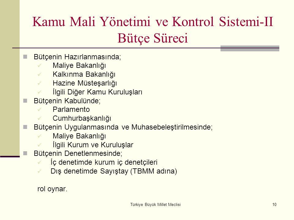 Türkiye Büyük Millet Meclisi10 Kamu Mali Yönetimi ve Kontrol Sistemi-II Bütçe Süreci Bütçenin Hazırlanmasında; Maliye Bakanlığı Kalkınma Bakanlığı Haz