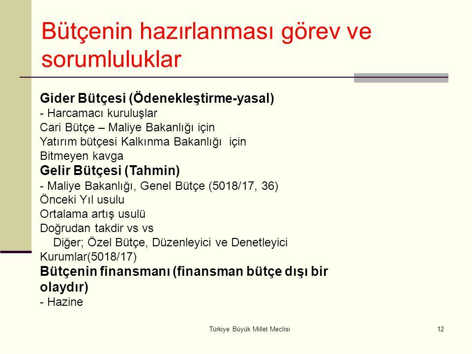Türkiye Büyük Millet Meclisi12 Gider Bütçesi (Ödenekleştirme-yasal) - Harcamacı kuruluşlar Cari Bütçe – Maliye Bakanlığı için Yatırım bütçesi Kalkınma