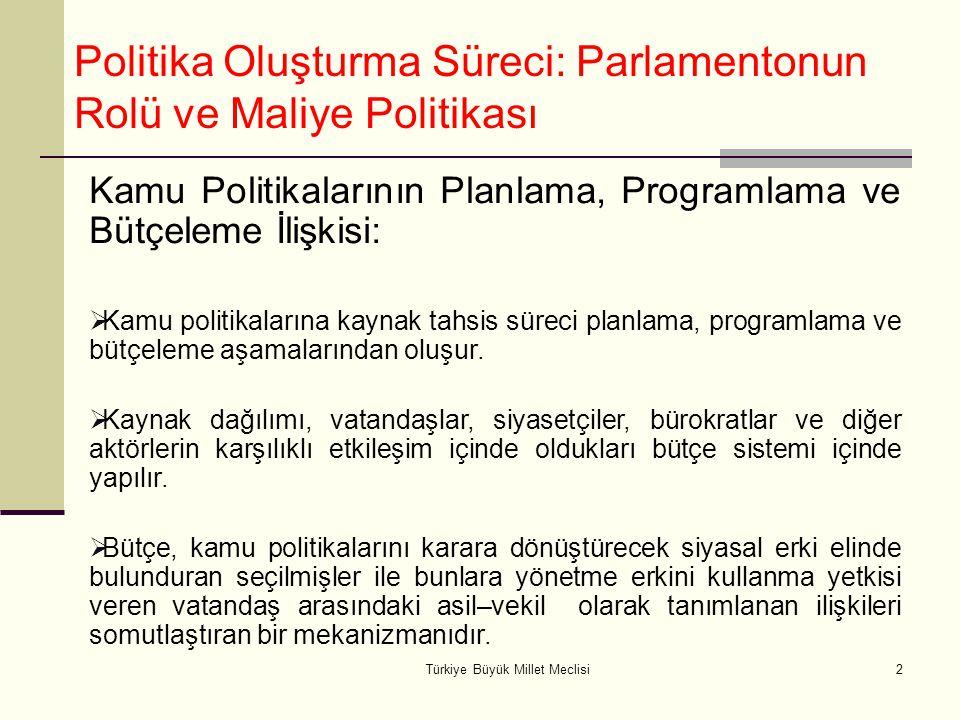 Türkiye Büyük Millet Meclisi2 Politika Oluşturma Süreci: Parlamentonun Rolü ve Maliye Politikası Kamu Politikalarının Planlama, Programlama ve Bütçele