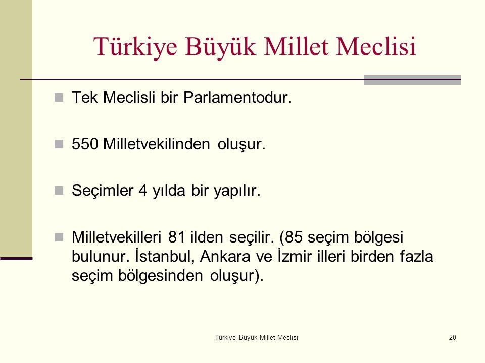 Türkiye Büyük Millet Meclisi20 Türkiye Büyük Millet Meclisi Tek Meclisli bir Parlamentodur. 550 Milletvekilinden oluşur. Seçimler 4 yılda bir yapılır.