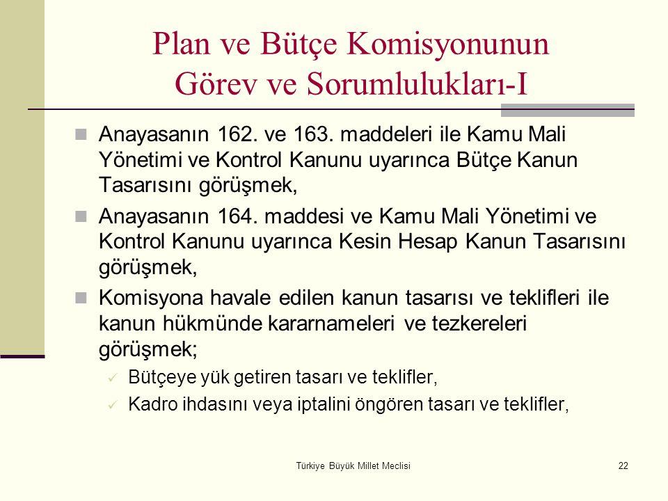 Türkiye Büyük Millet Meclisi22 Plan ve Bütçe Komisyonunun Görev ve Sorumlulukları-I Anayasanın 162. ve 163. maddeleri ile Kamu Mali Yönetimi ve Kontro