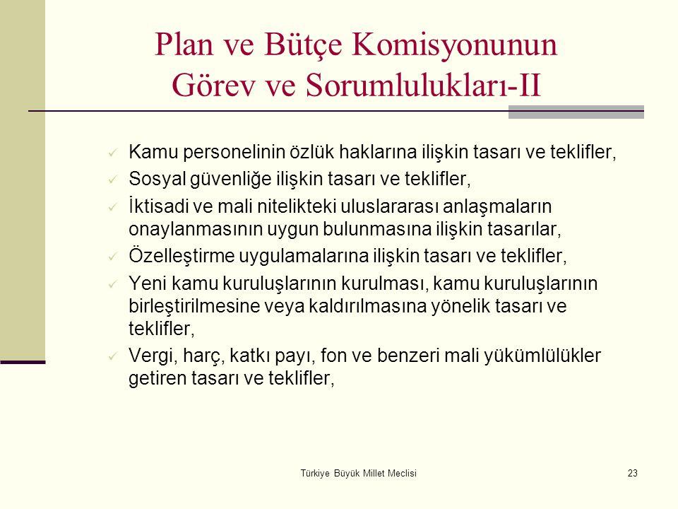 Türkiye Büyük Millet Meclisi23 Plan ve Bütçe Komisyonunun Görev ve Sorumlulukları-II Kamu personelinin özlük haklarına ilişkin tasarı ve teklifler, So