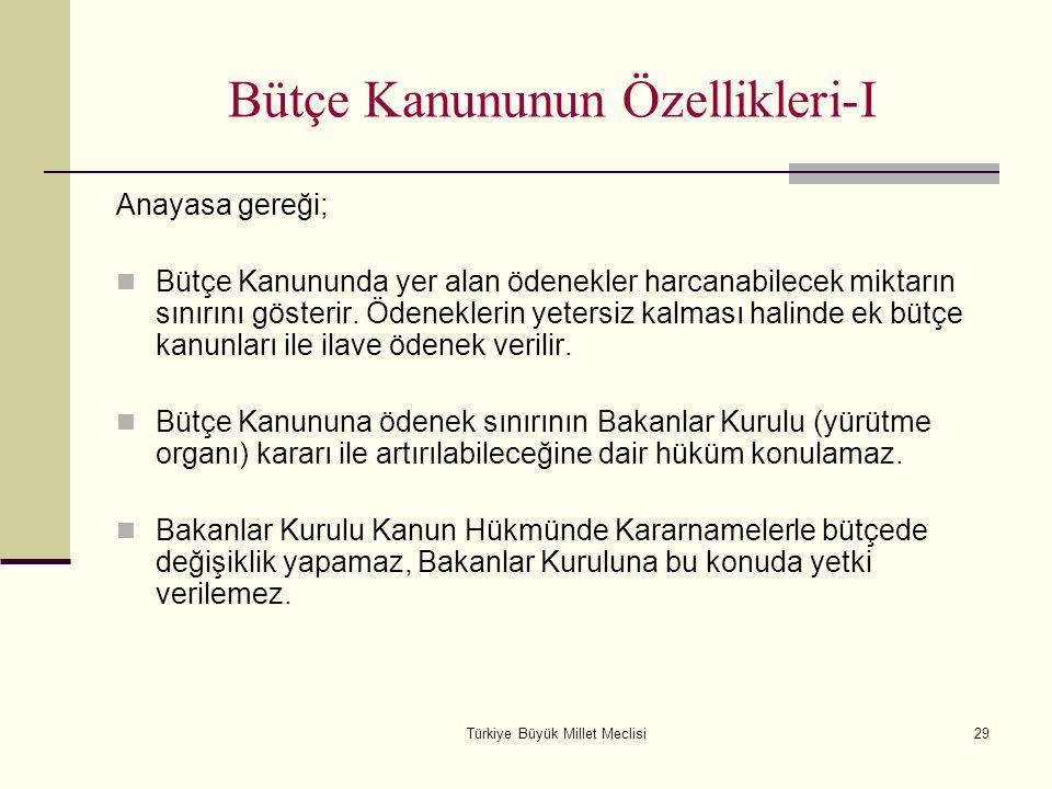 Türkiye Büyük Millet Meclisi29 Bütçe Kanununun Özellikleri-I Anayasa gereği; Bütçe Kanununda yer alan ödenekler harcanabilecek miktarın sınırını göste