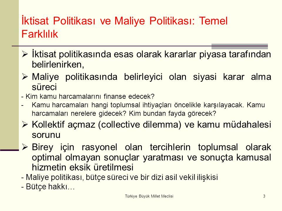 Türkiye Büyük Millet Meclisi3  İktisat politikasında esas olarak kararlar piyasa tarafından belirlenirken,  Maliye politikasında belirleyici olan si