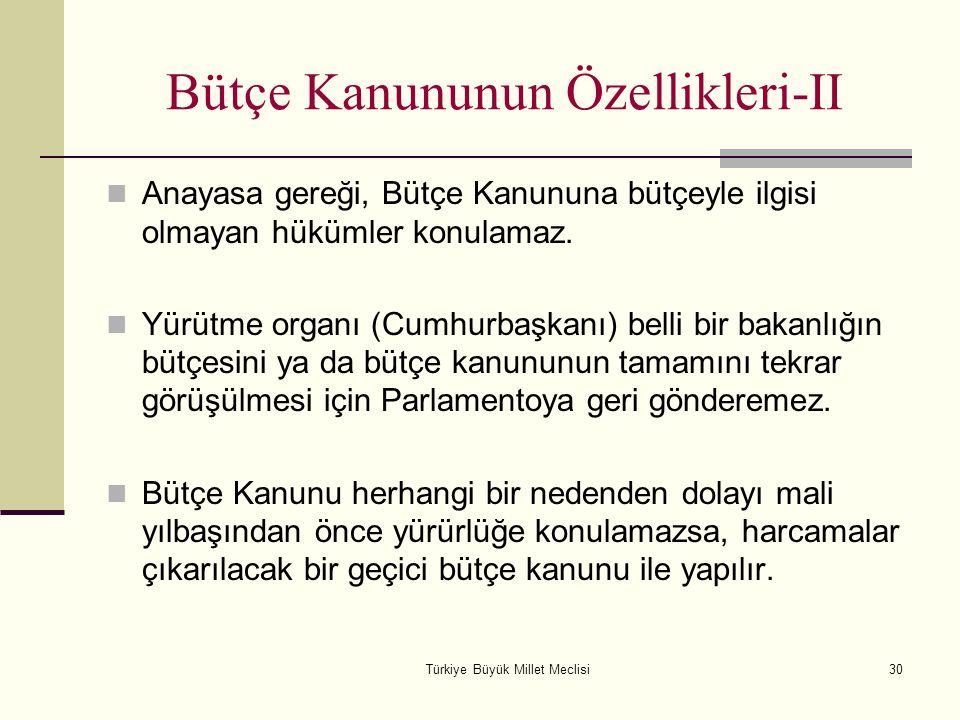 Türkiye Büyük Millet Meclisi30 Bütçe Kanununun Özellikleri-II Anayasa gereği, Bütçe Kanununa bütçeyle ilgisi olmayan hükümler konulamaz. Yürütme organ