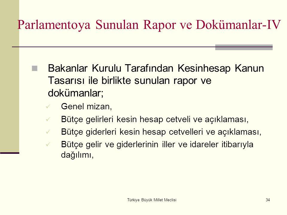 Türkiye Büyük Millet Meclisi34 Parlamentoya Sunulan Rapor ve Dokümanlar-IV Bakanlar Kurulu Tarafından Kesinhesap Kanun Tasarısı ile birlikte sunulan r