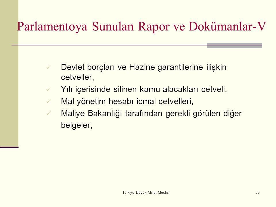Türkiye Büyük Millet Meclisi35 Parlamentoya Sunulan Rapor ve Dokümanlar-V Devlet borçları ve Hazine garantilerine ilişkin cetveller, Yılı içerisinde s