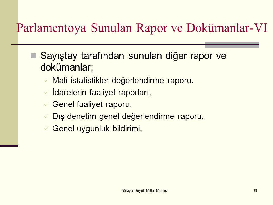 Türkiye Büyük Millet Meclisi36 Sayıştay tarafından sunulan diğer rapor ve dokümanlar; Malî istatistikler değerlendirme raporu, İdarelerin faaliyet rap