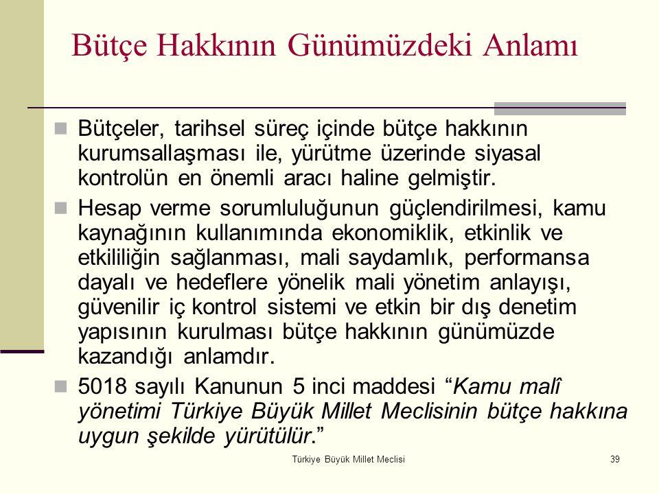 Türkiye Büyük Millet Meclisi39 Bütçe Hakkının Günümüzdeki Anlamı Bütçeler, tarihsel süreç içinde bütçe hakkının kurumsallaşması ile, yürütme üzerinde