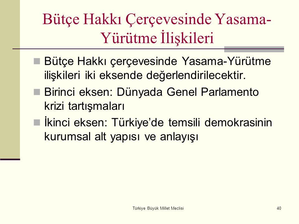 Türkiye Büyük Millet Meclisi40 Bütçe Hakkı Çerçevesinde Yasama- Yürütme İlişkileri Bütçe Hakkı çerçevesinde Yasama-Yürütme ilişkileri iki eksende değe