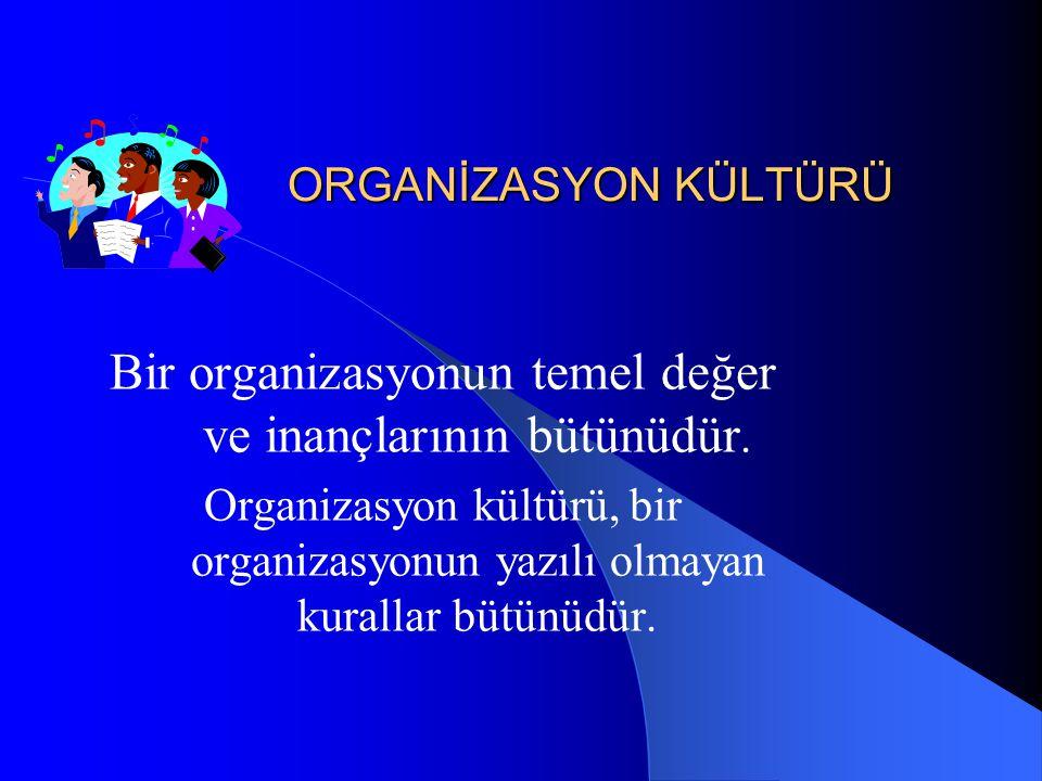 ORGANİZASYON KÜLTÜRÜ Bir organizasyonun temel değer ve inançlarının bütünüdür. Organizasyon kültürü, bir organizasyonun yazılı olmayan kurallar bütünü
