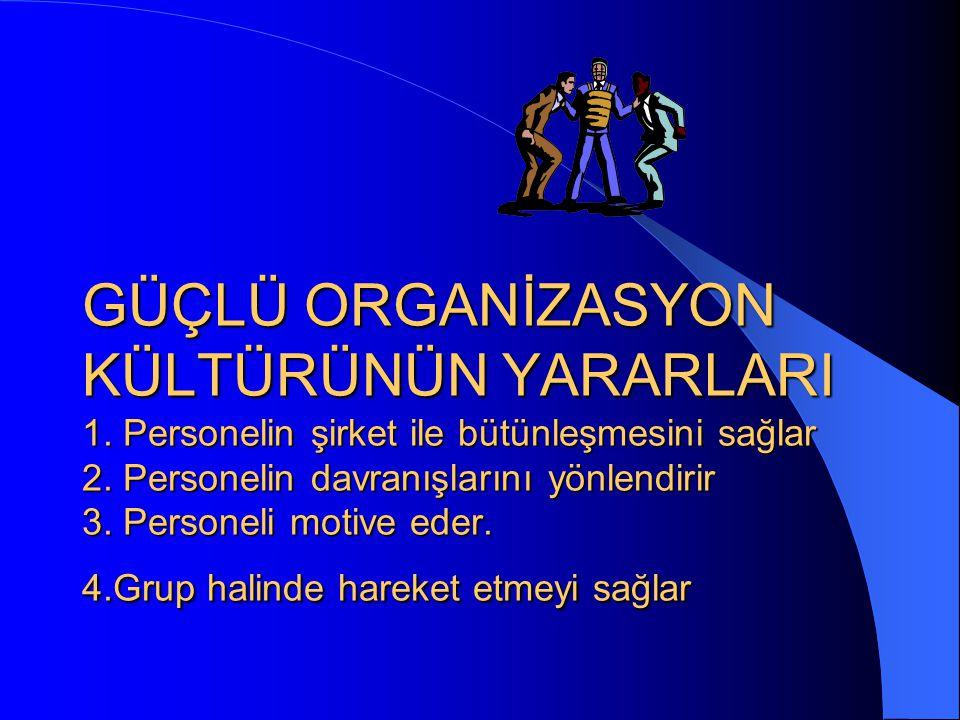 GÜÇLÜ ORGANİZASYON KÜLTÜRÜNÜN YARARLARI 1. Personelin şirket ile bütünleşmesini sağlar 2. Personelin davranışlarını yönlendirir 3. Personeli motive ed
