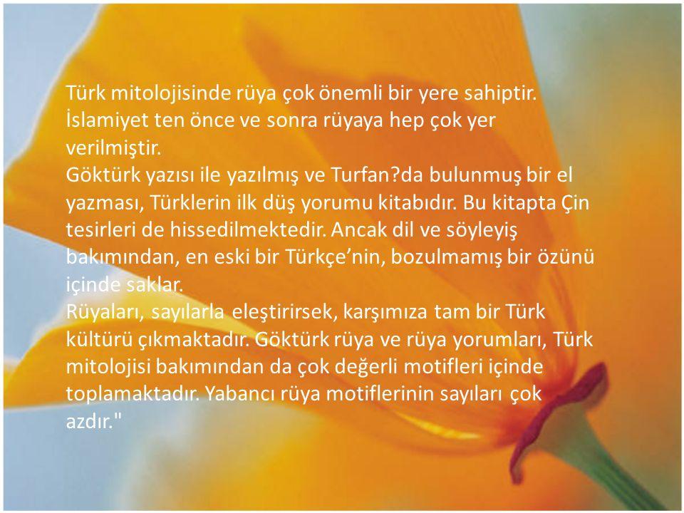 Türk mitolojisinde rüya çok önemli bir yere sahiptir. İslamiyet ten önce ve sonra rüyaya hep çok yer verilmiştir. Göktürk yazısı ile yazılmış ve Turfa