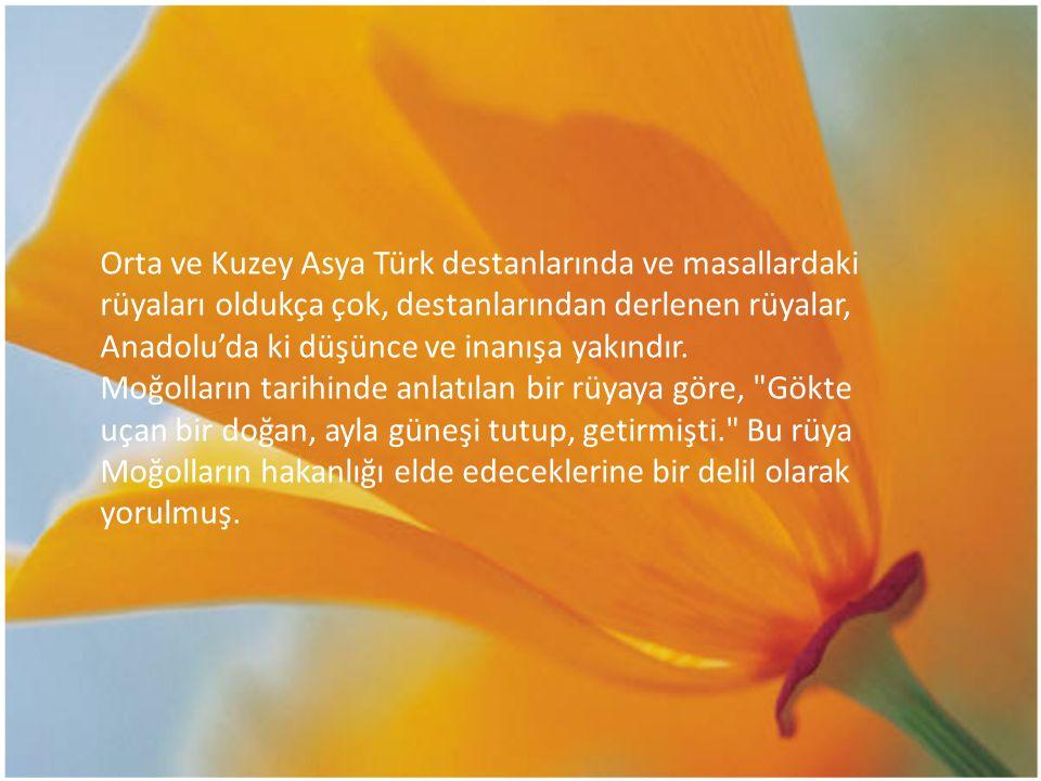 Orta ve Kuzey Asya Türk destanlarında ve masallardaki rüyaları oldukça çok, destanlarından derlenen rüyalar, Anadolu'da ki düşünce ve inanışa yakındır