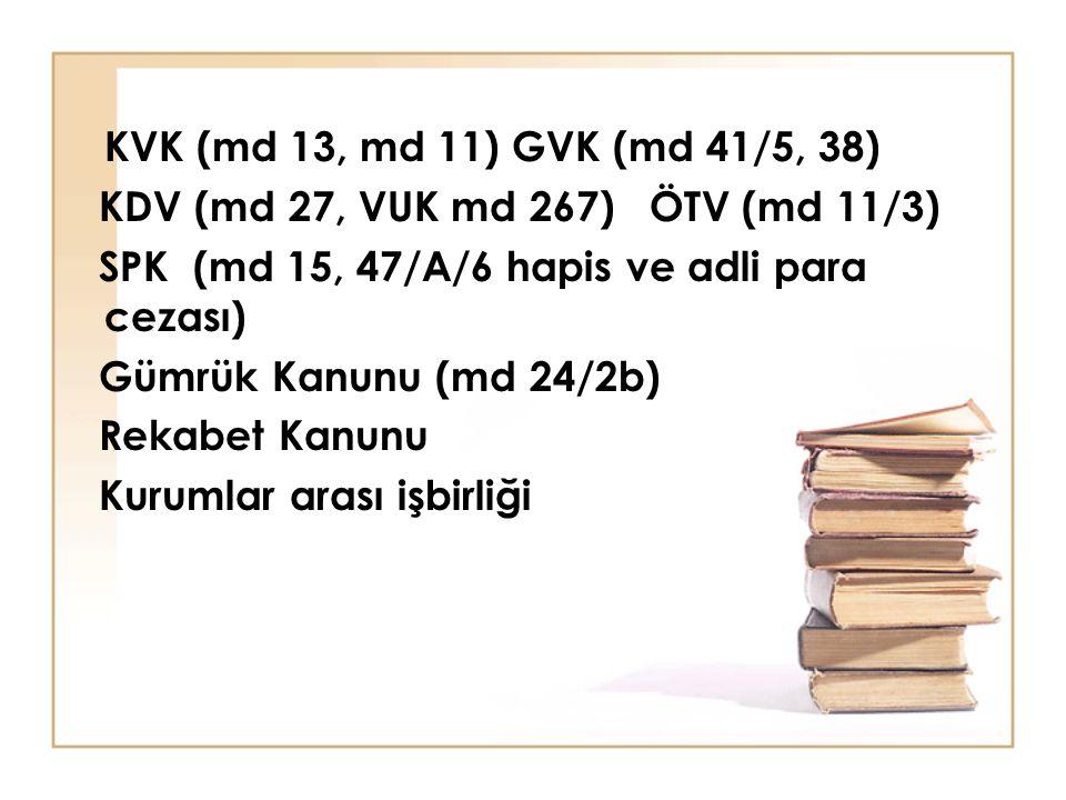 KVK (md 13, md 11) GVK (md 41/5, 38) KDV (md 27, VUK md 267) ÖTV (md 11/3) SPK (md 15, 47/A/6 hapis ve adli para cezası) Gümrük Kanunu (md 24/2b) Reka