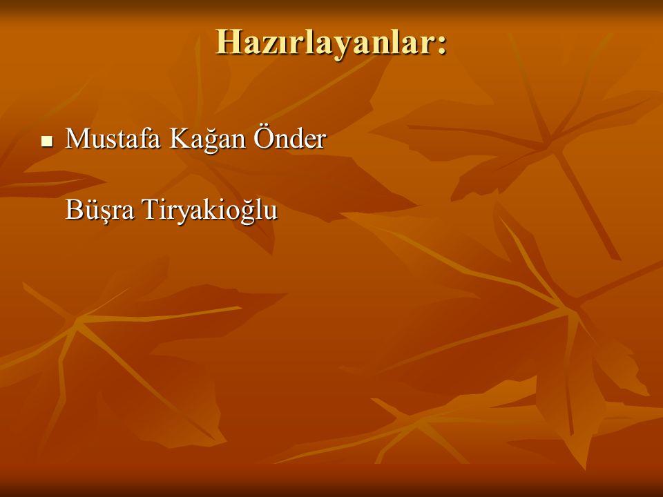 Hazırlayanlar: Mustafa Kağan Önder Büşra Tiryakioğlu Mustafa Kağan Önder Büşra Tiryakioğlu