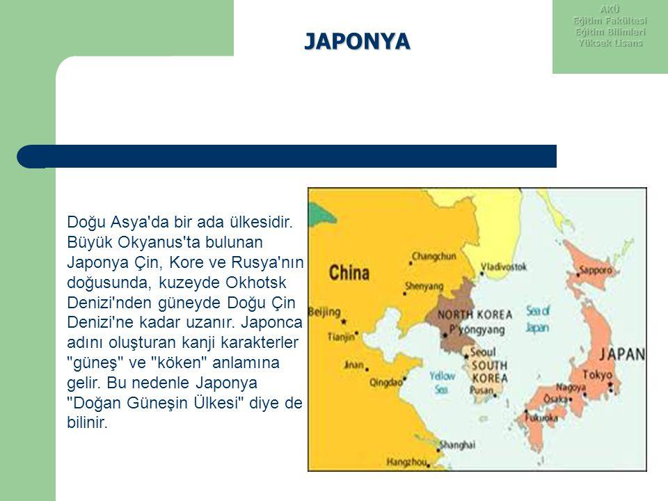 JAPONYA Doğu Asya'da bir ada ülkesidir. Büyük Okyanus'ta bulunan Japonya Çin, Kore ve Rusya'nın doğusunda, kuzeyde Okhotsk Denizi'nden güneyde Doğu Çi