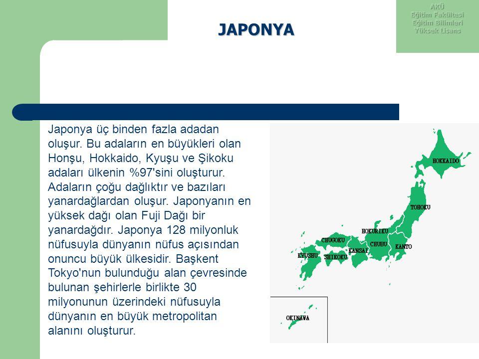 JAPONYA Japonya üç binden fazla adadan oluşur. Bu adaların en büyükleri olan Honşu, Hokkaido, Kyuşu ve Şikoku adaları ülkenin %97'sini oluşturur. Adal