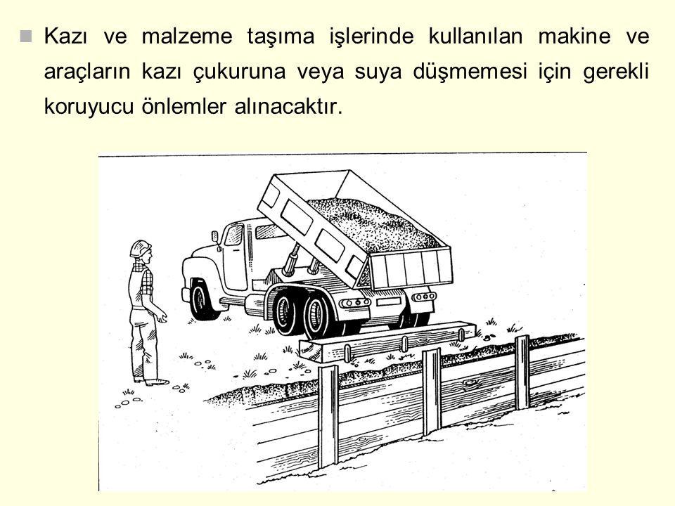 Kazı ve malzeme taşıma işlerinde kullanılan makine ve araçların kazı çukuruna veya suya düşmemesi için gerekli koruyucu önlemler alınacaktır.