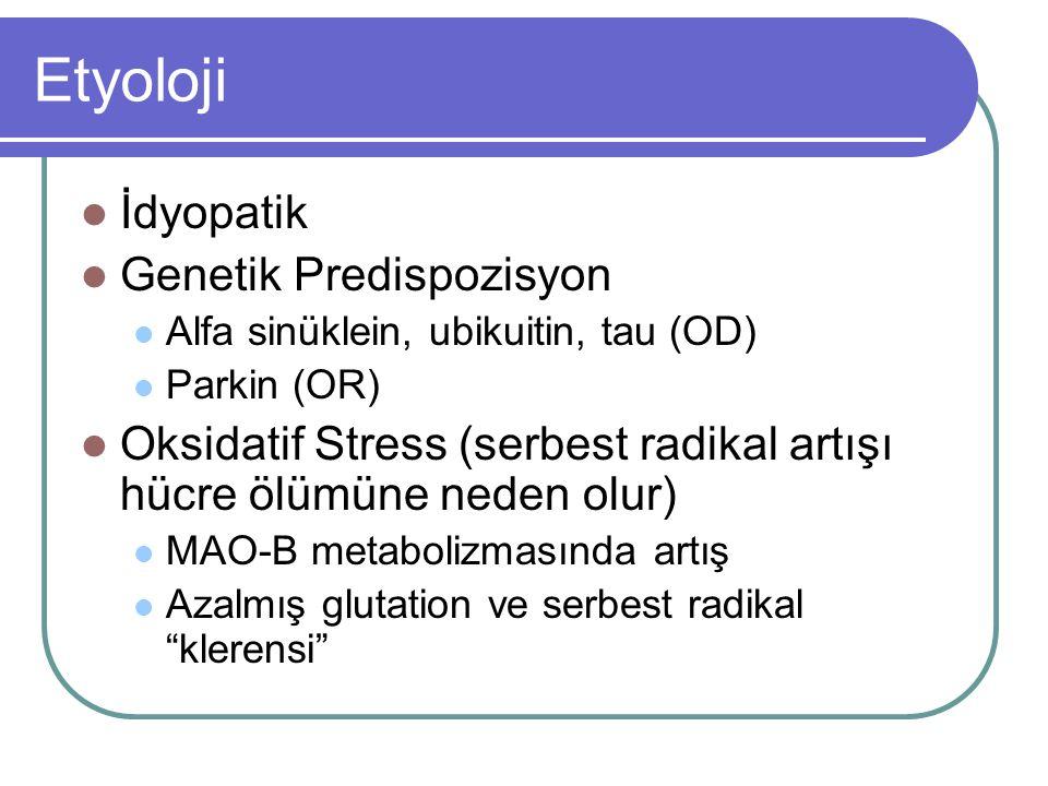 Etyoloji İdyopatik Genetik Predispozisyon Alfa sinüklein, ubikuitin, tau (OD) Parkin (OR) Oksidatif Stress (serbest radikal artışı hücre ölümüne neden