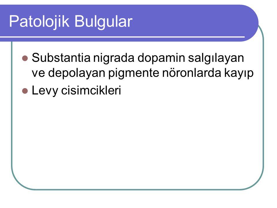 Patolojik Bulgular Substantia nigrada dopamin salgılayan ve depolayan pigmente nöronlarda kayıp Levy cisimcikleri
