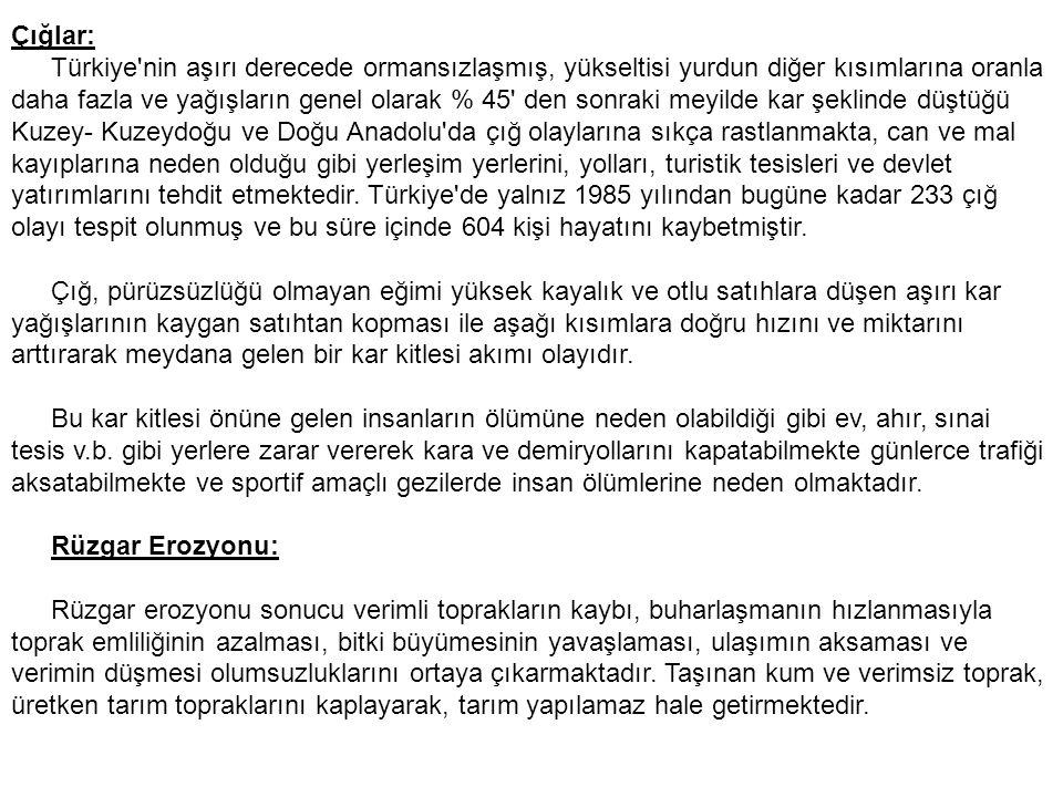 Çığlar: Türkiye'nin aşırı derecede ormansızlaşmış, yükseltisi yurdun diğer kısımlarına oranla daha fazla ve yağışların genel olarak % 45' den sonraki