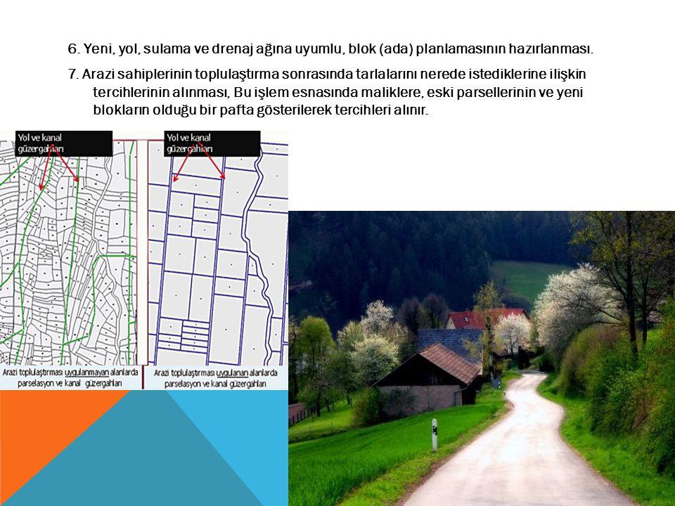 6. Yeni, yol, sulama ve drenaj ağına uyumlu, blok (ada) planlamasının hazırlanması. 7. Arazi sahiplerinin toplulaştırma sonrasında tarlalarını nerede