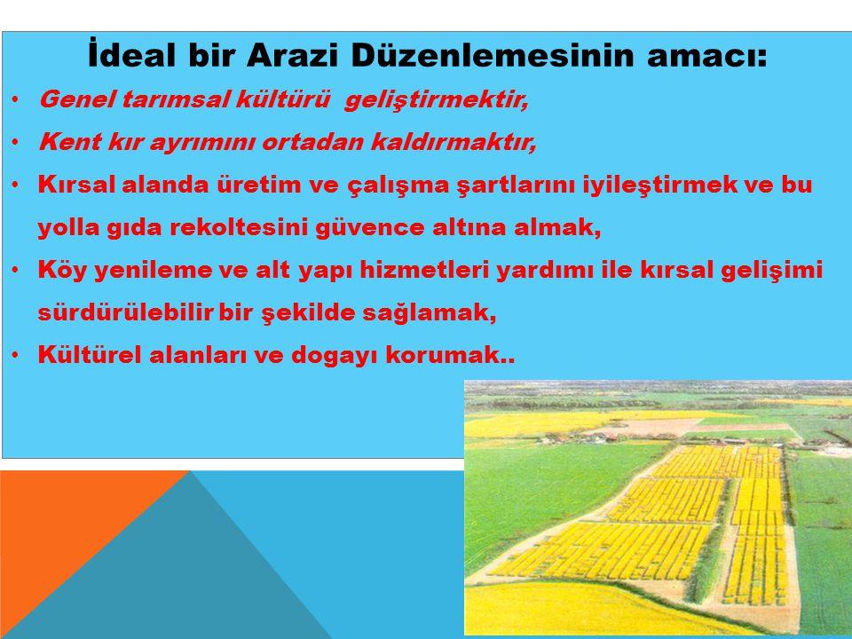 İdeal bir Arazi Düzenlemesinin amacı: Genel tarımsal kültürü geliştirmektir, Kent kır ayrımını ortadan kaldırmaktır, Kırsal alanda üretim ve çalışma ş