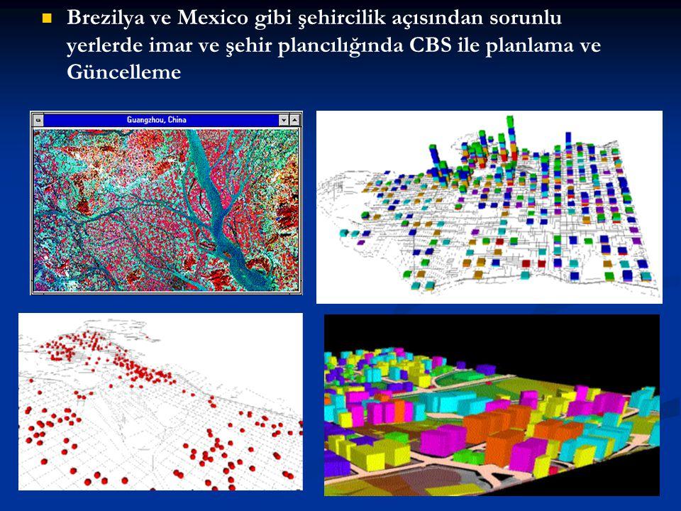 Brezilya ve Mexico gibi şehircilik açısından sorunlu yerlerde imar ve şehir plancılığında CBS ile planlama ve Güncelleme