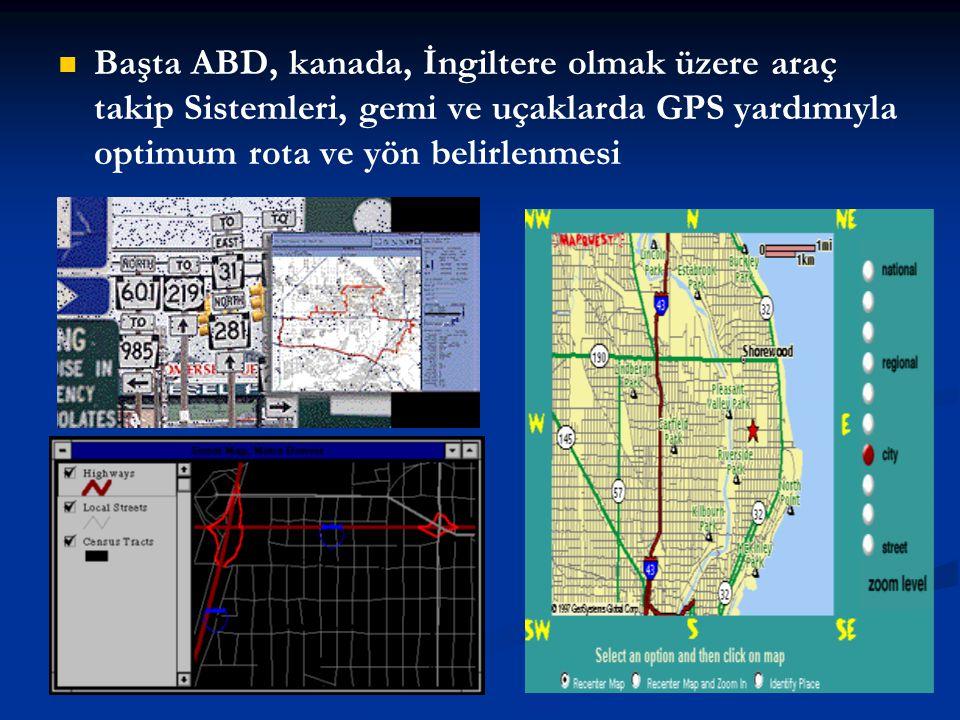 Başta ABD, kanada, İngiltere olmak üzere araç takip Sistemleri, gemi ve uçaklarda GPS yardımıyla optimum rota ve yön belirlenmesi