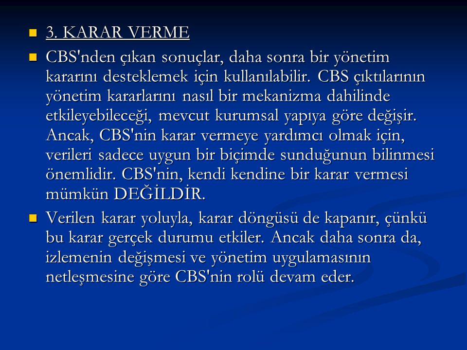 3. KARAR VERME 3. KARAR VERME CBS'nden çıkan sonuçlar, daha sonra bir yönetim kararını desteklemek için kullanılabilir. CBS çıktılarının yönetim karar