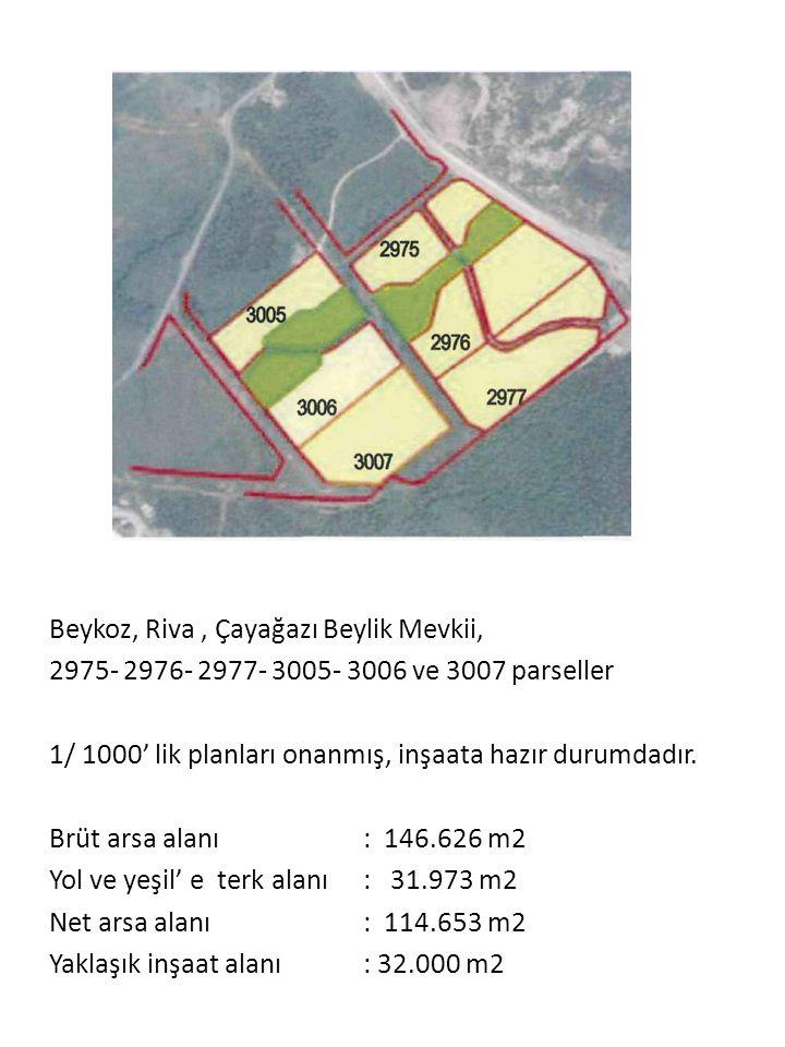 Beykoz, Riva, Çayağazı Beylik Mevkii, 2975- 2976- 2977- 3005- 3006 ve 3007 parseller 1/ 1000' lik planları onanmış, inşaata hazır durumdadır.
