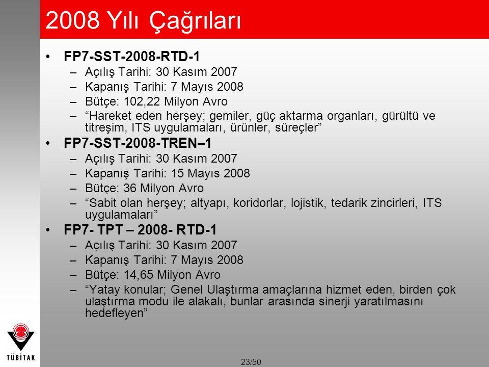 """23/50 2008 Yılı Çağrıları FP7-SST-2008-RTD-1 –Açılış Tarihi: 30 Kasım 2007 –Kapanış Tarihi: 7 Mayıs 2008 –Bütçe: 102,22 Milyon Avro –""""Hareket eden her"""