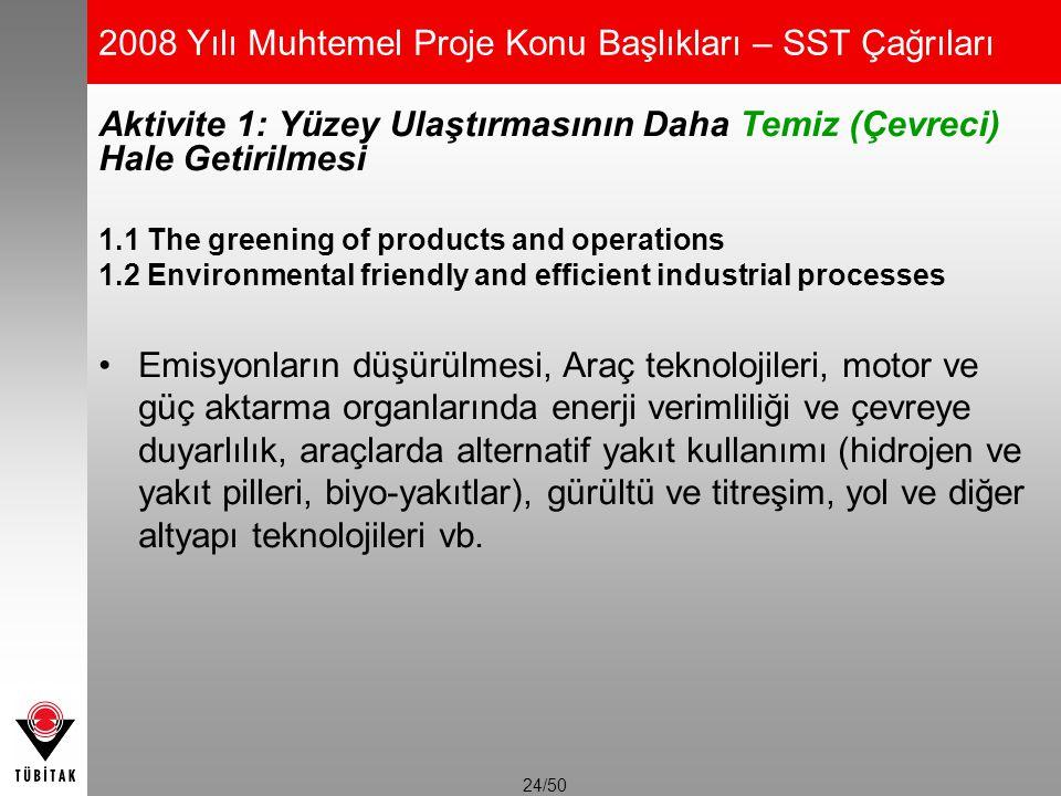24/50 2008 Yılı Muhtemel Proje Konu Başlıkları – SST Çağrıları Aktivite 1: Yüzey Ulaştırmasının Daha Temiz (Çevreci) Hale Getirilmesi 1.1 The greening