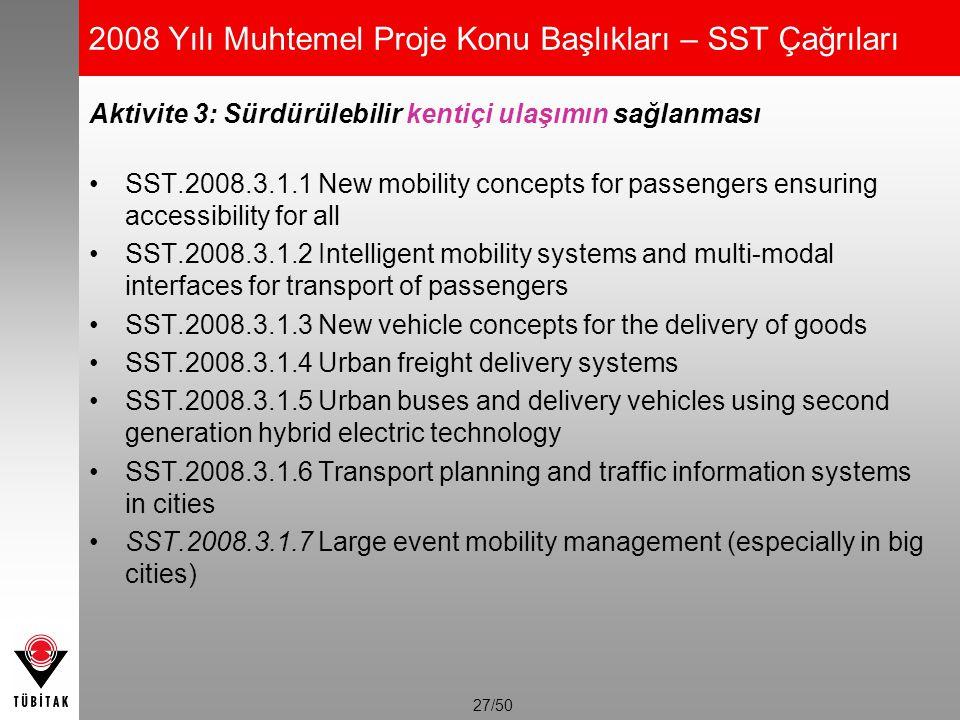 27/50 2008 Yılı Muhtemel Proje Konu Başlıkları – SST Çağrıları Aktivite 3: Sürdürülebilir kentiçi ulaşımın sağlanması SST.2008.3.1.1 New mobility conc