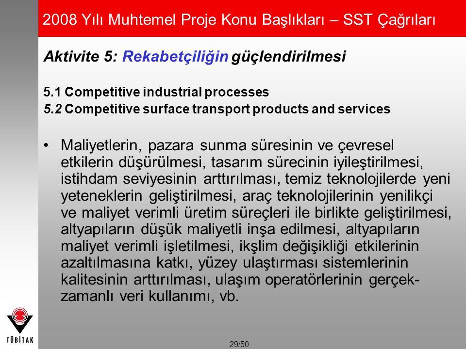 29/50 2008 Yılı Muhtemel Proje Konu Başlıkları – SST Çağrıları Aktivite 5: Rekabetçiliğin güçlendirilmesi 5.1 Competitive industrial processes 5.2 Com