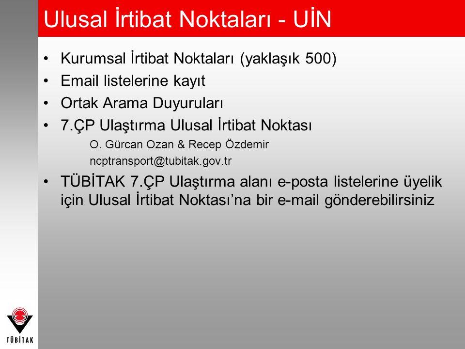 Ulusal İrtibat Noktaları - UİN Kurumsal İrtibat Noktaları (yaklaşık 500) Email listelerine kayıt Ortak Arama Duyuruları 7.ÇP Ulaştırma Ulusal İrtibat