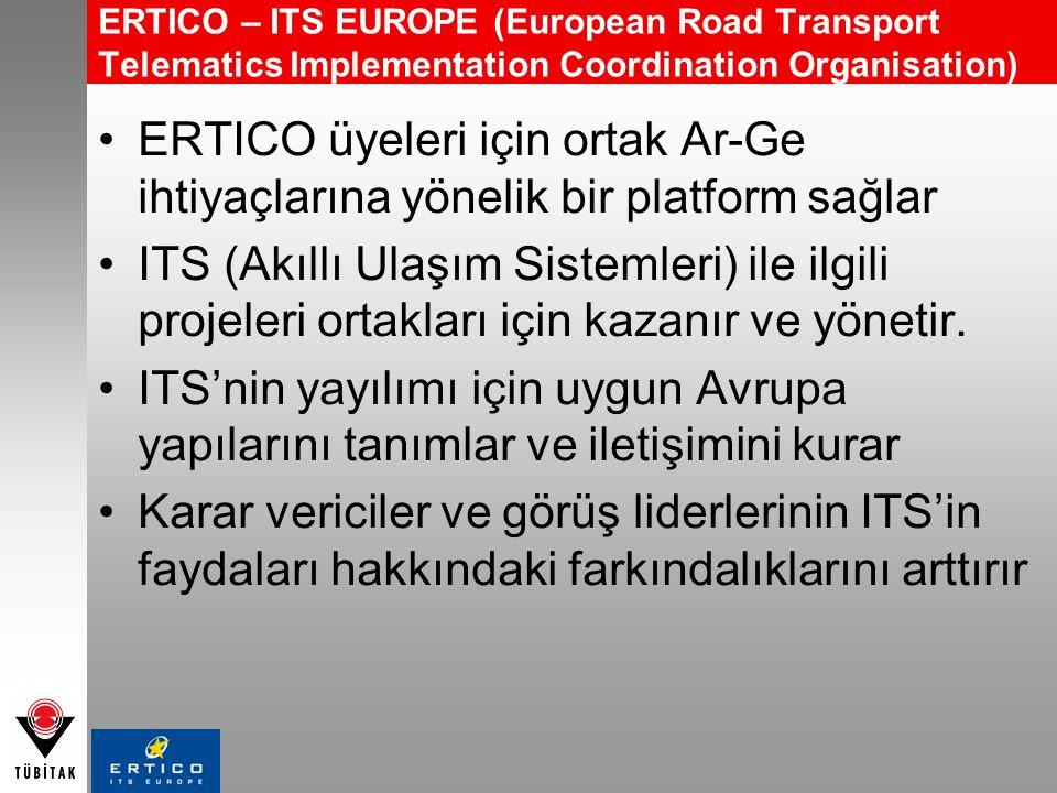 ERTICO – ITS EUROPE (European Road Transport Telematics Implementation Coordination Organisation) ERTICO üyeleri için ortak Ar-Ge ihtiyaçlarına yöneli