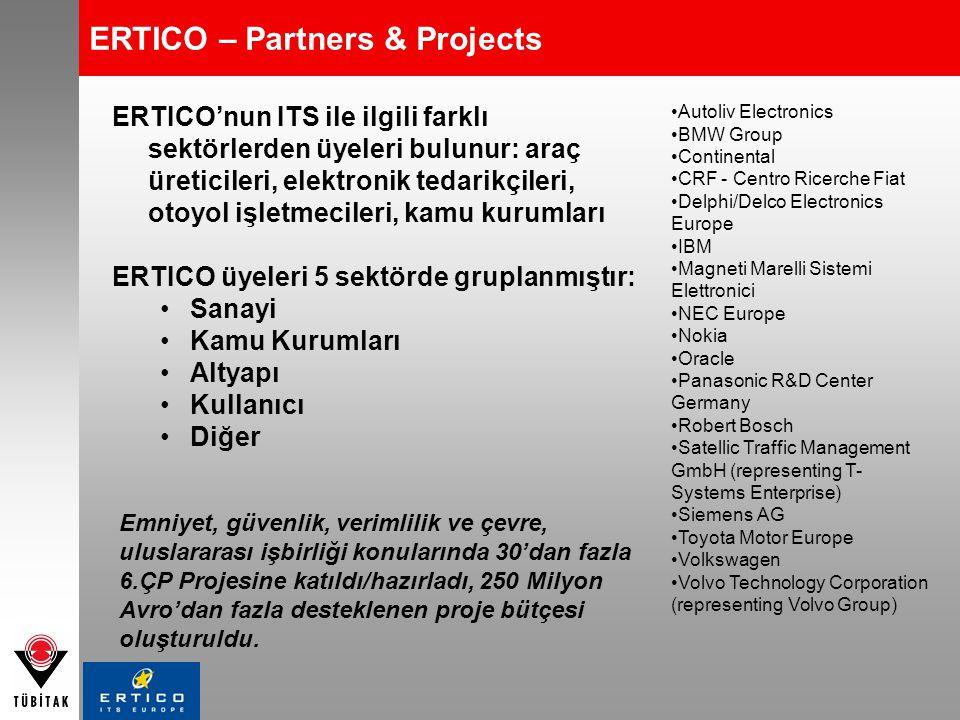 ERTICO – Partners & Projects ERTICO'nun ITS ile ilgili farklı sektörlerden üyeleri bulunur: araç üreticileri, elektronik tedarikçileri, otoyol işletme