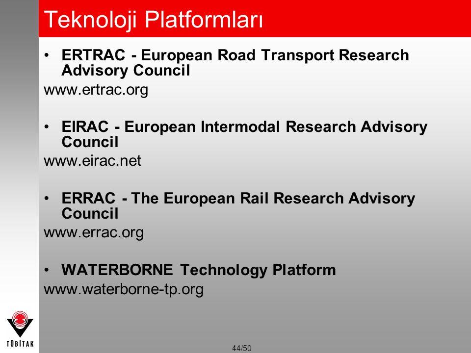 44/50 Teknoloji Platformları ERTRAC - European Road Transport Research Advisory Council www.ertrac.org EIRAC - European Intermodal Research Advisory C