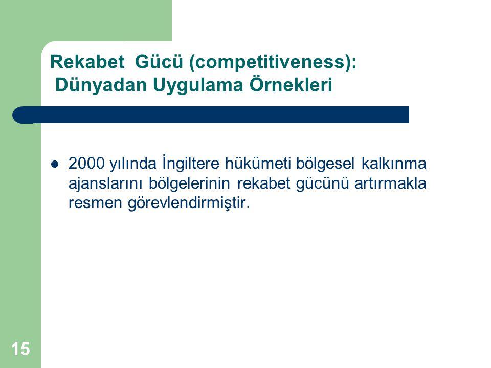 15 Rekabet Gücü (competitiveness): Dünyadan Uygulama Örnekleri 2000 yılında İngiltere hükümeti bölgesel kalkınma ajanslarını bölgelerinin rekabet gücü