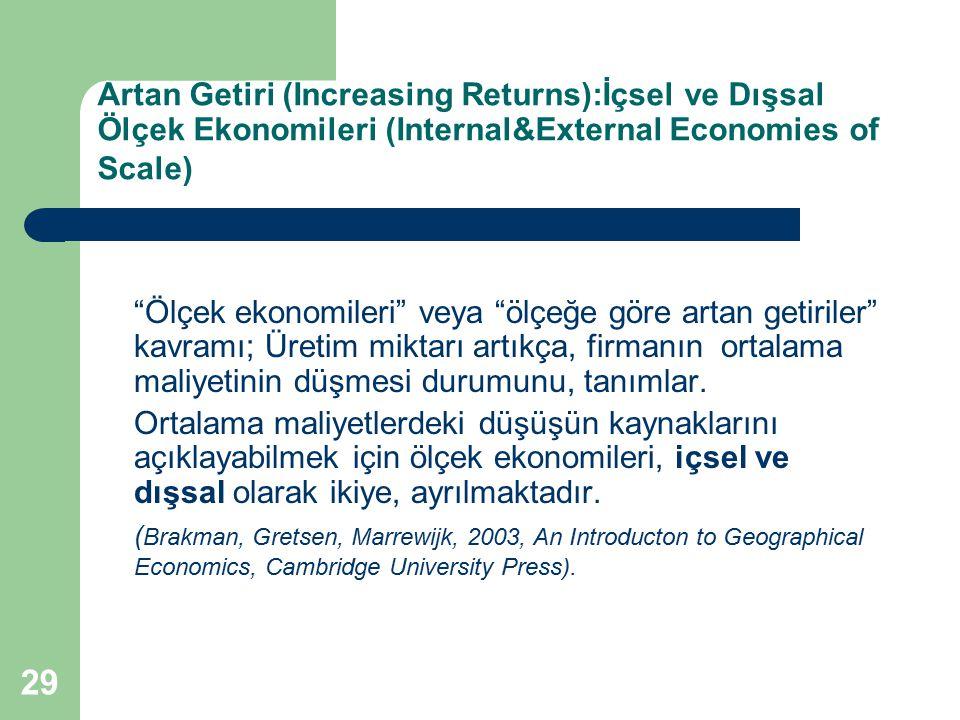 """29 Artan Getiri (Increasing Returns):İçsel ve Dışsal Ölçek Ekonomileri (Internal&External Economies of Scale) """"Ölçek ekonomileri"""" veya """"ölçeğe göre ar"""