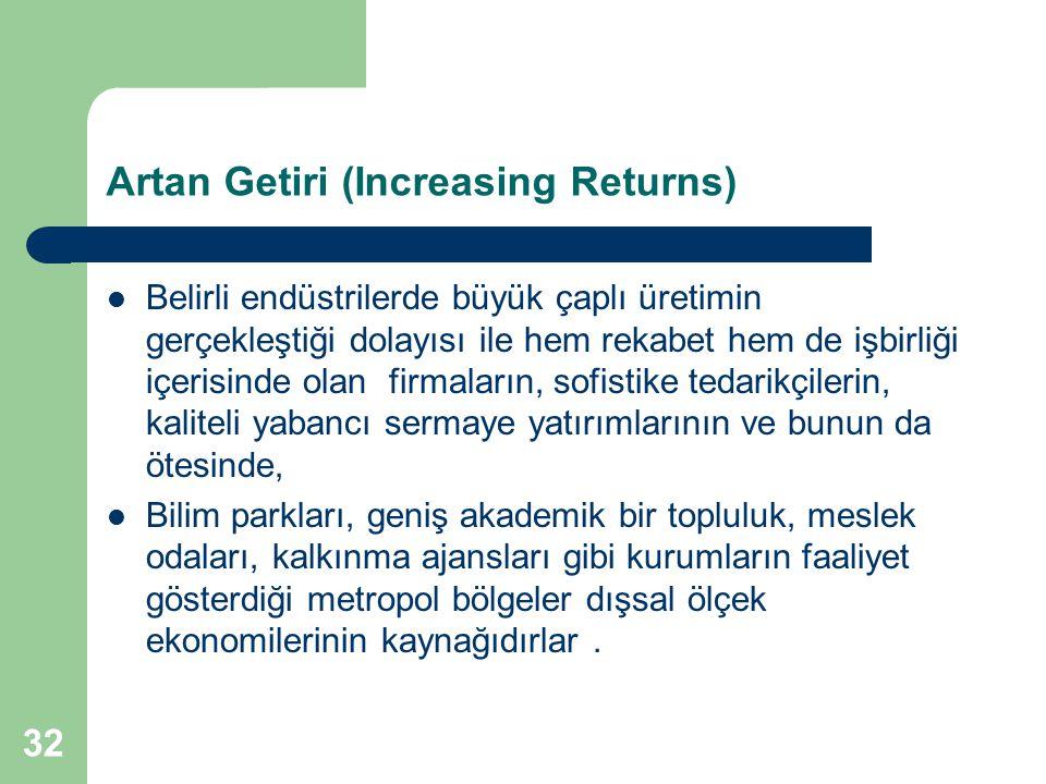 32 Artan Getiri (Increasing Returns) Belirli endüstrilerde büyük çaplı üretimin gerçekleştiği dolayısı ile hem rekabet hem de işbirliği içerisinde ola