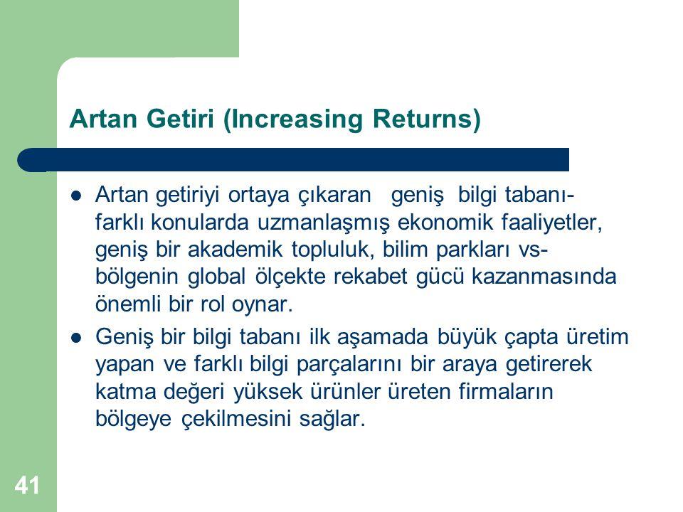 41 Artan Getiri (Increasing Returns) Artan getiriyi ortaya çıkaran geniş bilgi tabanı- farklı konularda uzmanlaşmış ekonomik faaliyetler, geniş bir ak