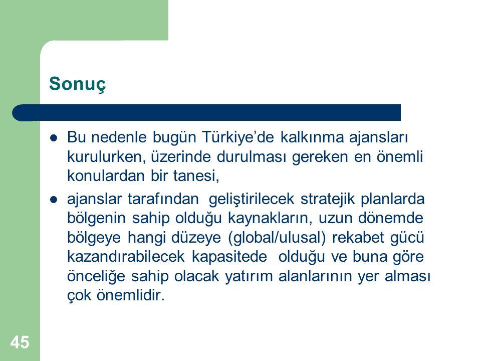 45 Sonuç Bu nedenle bugün Türkiye'de kalkınma ajansları kurulurken, üzerinde durulması gereken en önemli konulardan bir tanesi, ajanslar tarafından ge