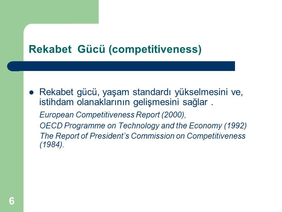6 Rekabet Gücü (competitiveness) Rekabet gücü, yaşam standardı yükselmesini ve, istihdam olanaklarının gelişmesini sağlar. European Competitiveness Re
