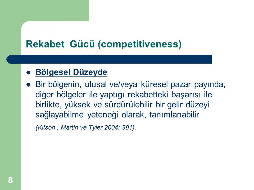 8 Rekabet Gücü (competitiveness) Bölgesel Düzeyde Bir bölgenin, ulusal ve/veya küresel pazar payında, diğer bölgeler ile yaptığı rekabetteki başarısı