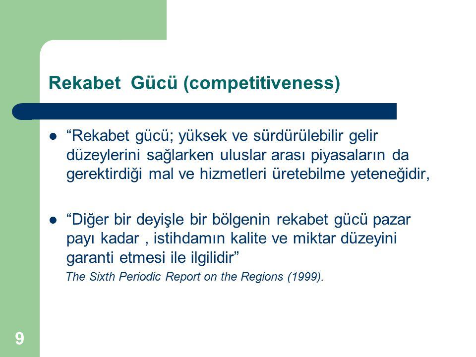 """9 Rekabet Gücü (competitiveness) """"Rekabet gücü; yüksek ve sürdürülebilir gelir düzeylerini sağlarken uluslar arası piyasaların da gerektirdiği mal ve"""